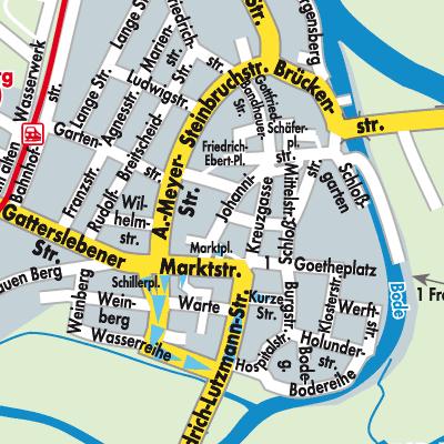 Karte von Nienburg (Saale) - Stadtplandienst Deutschland