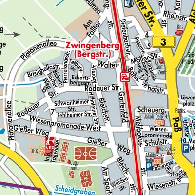 Karte von Zwingenberg - Stadtplandienst Deutschland