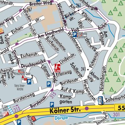 Karte von Bergneustadt - Stadtplandienst Deutschland
