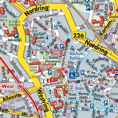 Bochum Karte.Karte Von Bochum Stadtplandienst Deutschland