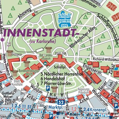 Karte Karlsruhe.Karte Von Karlsruhe Stadtplandienst Deutschland