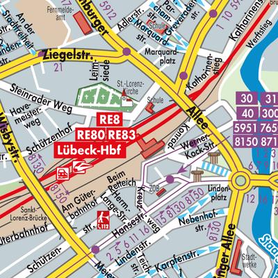Karte Lübeck.Karte Von Lübeck Stadtplandienst Deutschland