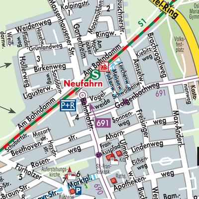 Karte von Neufahrn bei Freising - Stadtplandienst Deutschland