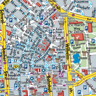 Wiesbaden Karte.Karte Von Wiesbaden Stadtplandienst Deutschland