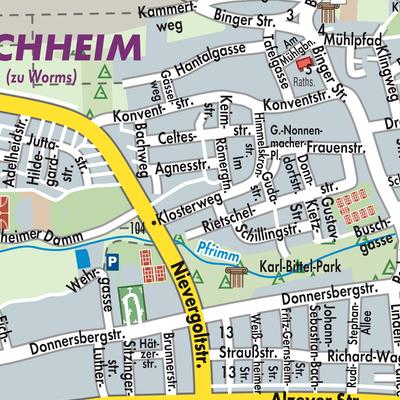 worms karte deutschland Karte von Worms   Stadtplandienst Deutschland